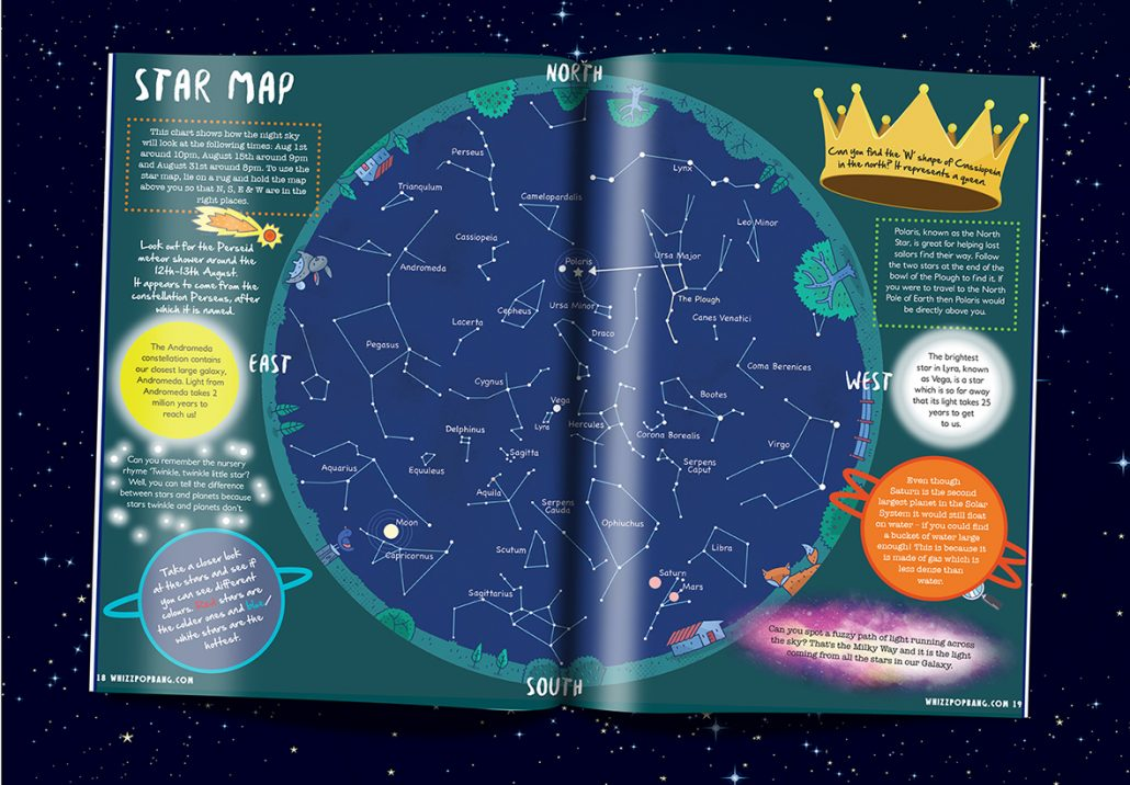 Whizz Pop Bang Science magazine for kids pull-out star map
