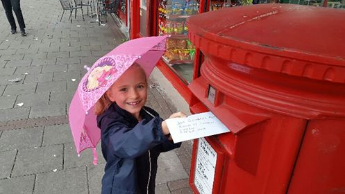 Whizz Pop Bang child posting letter to MP