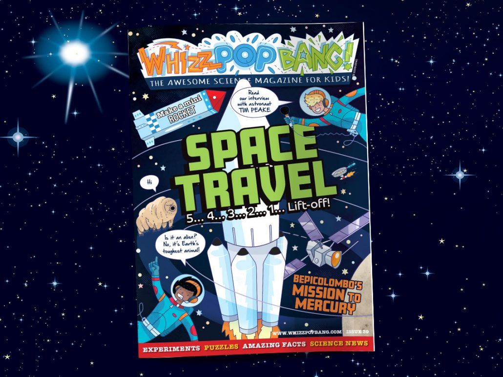Whizz Pop Bang science magazine for kids SPACE TRAVEL on night sky
