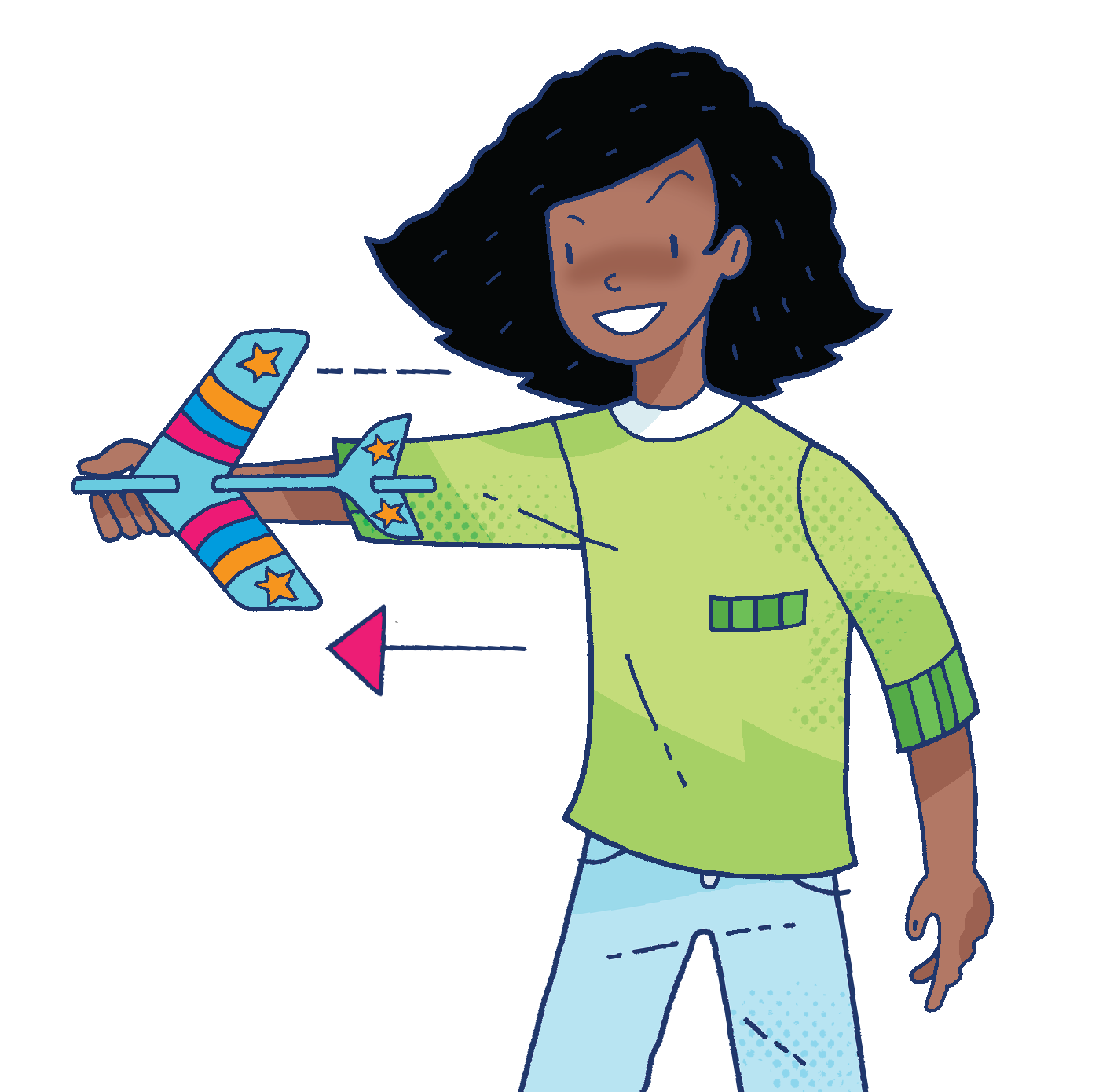 A girl flying a homemade paper stunt plane made form Whizz Pop Bang magazine resources