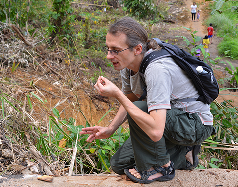 Beetle expert Darren Mann hunting for dung beetles