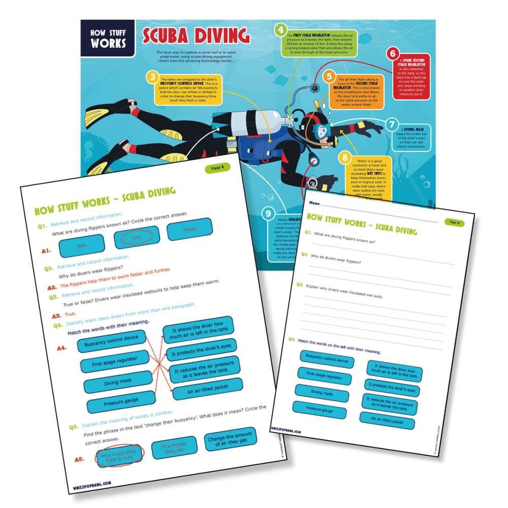 An explanation text about scuba diving