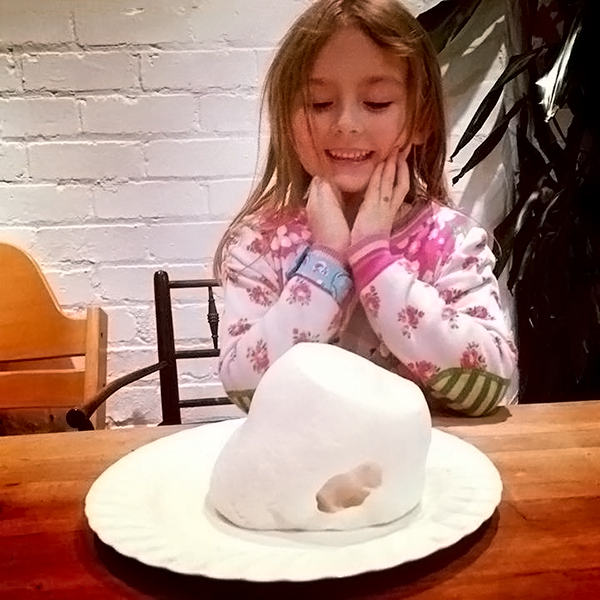 girl with super-sized marshmallow