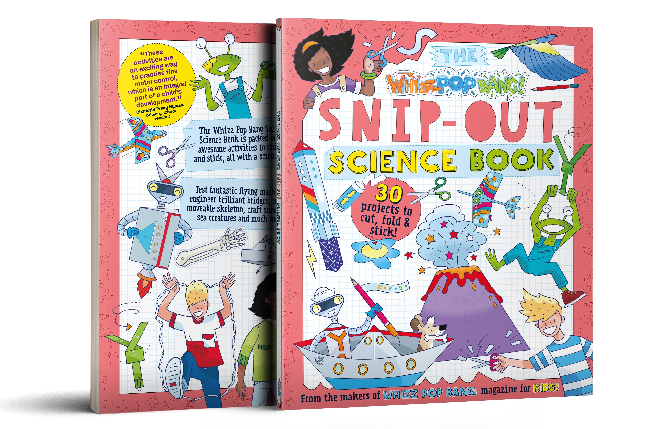 Boys holding their SPY SCIENCE issues of Whizz Pop Bang magazine